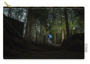 Cyclist In Mountain Forest Carry-all Pouch