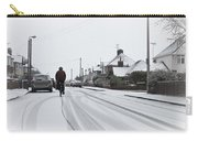 Cyclist In The Snow Carry-all Pouch by Tom Gowanlock