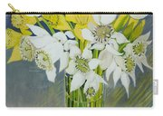 Daffodils And White Tulips In An Octagonal Glass Vase Carry-all Pouch