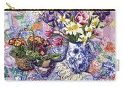 Daffodils Tulips And Iris In A Jacobean Blue And White Jug With Sanderson Fabric And Primroses Carry-all Pouch