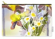 Daisies With Yellow Irises Carry-all Pouch