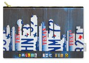 Dallas Texas Skyline License Plate Art By Design Turnpike Carry-all Pouch by Design Turnpike