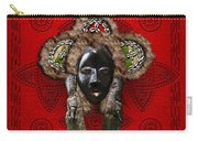 Dan Dean-gle Mask Of The Ivory Coast And Liberia On Red Leather Carry-all Pouch