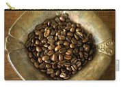 Dark Roast Coffee Beans And Antique Silver Carry-all Pouch