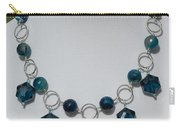 Dark Turquoise Crystal And Faceted Agate Necklace 3676 Carry-all Pouch