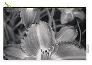 Day Lilies In Black And White Carry-all Pouch by Adam Romanowicz
