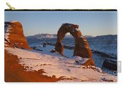 Delicate Arch With Snow At Sunset Arches National Park Utah Carry-all Pouch