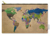 Denim Map Of The World Jeans Texture On Worn Canvas Paper Carry-all Pouch