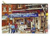 Depanneur Arret Eclair Verdun Rue Wellington Montreal Paintings Original Hockey Art Sale Commissions Carry-all Pouch