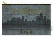 Detroit Michigan City Skyline Silhouette Distressed On Worn Peeling Wood Carry-all Pouch
