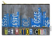 Detroit The Motor City Skyline License Plate Art On Gray Wood Boards  Carry-all Pouch