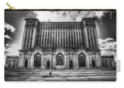 Detroit's Abandoned Michigan Central Train Station Depot In Black And White Carry-all Pouch