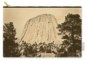 Devils Tower National Monument Between Trees Wyoming Usa Rustic Carry-all Pouch by Shawn O'Brien