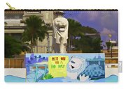 Digital Oil Painting - Statue Of The Merlion With A Banner Carry-all Pouch