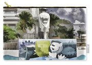 Digital Oil Painting - Statue Of The Merlion With A Banner Below The Statue And With Bu Carry-all Pouch