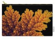 Digital Warm Golden Fractal Leaf Black Background Carry-all Pouch