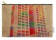 Dime Building Iconic Buildings Of Detroit Watercolor On Worn Canvas Series Number 1 Carry-all Pouch