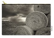 Distant Thunderstorm Approaches Hay Bales E90 Carry-all Pouch