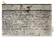 District Of Columbia War Memorial Inscription Carry-all Pouch