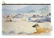 Dog On The Beach Woolacombe Carry-all Pouch by Lucy Willis