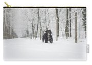 Dog Running In The Snow Carry-all Pouch