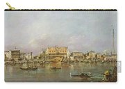 Doges Palace And View Of St. Marks Basin, Venice Oil On Canvas Carry-all Pouch