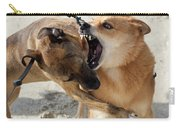 Dogs Fight On The Beach In Emerald Carry-all Pouch