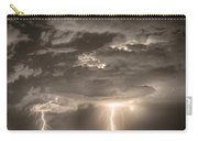 Double Lightning Strikes In Sepia Hdr Carry-all Pouch by James BO  Insogna