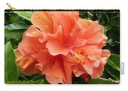 Double Peach Hibiscus Carry-all Pouch