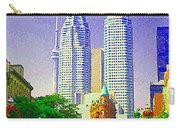 Downtown Core Flatiron Building And Cn Tower Toronto City Scenes Paintings Canadian Art Cspandau Carry-all Pouch