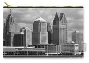 Downtown Detroit Riverfront Bw Carry-all Pouch