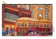 Downtown Montreal-streetcars-couple Near Red Fifties Mustang-montreal Vintage Street Scene Carry-all Pouch
