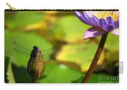 Dragon Fly On Bud And Water Lily Horizontal Number One Carry-all Pouch
