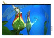 Dragonfly And Bud On Blue Carry-all Pouch