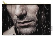 Dramatic Portrait Of Young Man Wet Face With Long Hair Carry-all Pouch