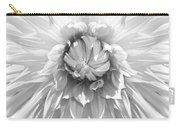 Dramatic White Dahlia Flower Monochrome Carry-all Pouch