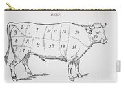 Drawing Of A Bullock Marked To Show Eighteen Different Cuts Of Meat Carry-all Pouch by English School