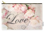 Dreamy Shabby Chic Roses Heart With Love - Love Typography Heart Romantic Cottage Chic Love Prints Carry-all Pouch