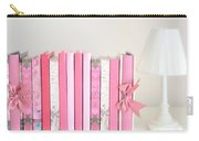 Dreamy Romantic Books Collection - Shabby Chic Cottage Chic Pastel Pink Books Photograph Carry-all Pouch by Kathy Fornal