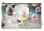Dreamy Shabby Chic Pink Chocolate Cupcakes Vintage Romantic Food Floral Cupcake Kitchen Art Decor Carry-all Pouch