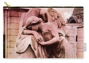 Dreamy Surreal Beautiful Angel Art Photograph - Angel Mourning Weeping At Gravestone  Carry-all Pouch