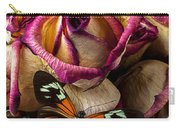 Dried Rose And Butterfly Carry-all Pouch