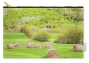 Dry Hay Bales In Spring Farm Field Maine Carry-all Pouch
