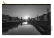 Dublin Sunrise - Liffey River In Black And White Carry-all Pouch