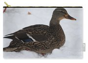 Duck Playing In The Snow Carry-all Pouch