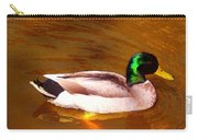 Duck Swimming On Golden Pond Carry-all Pouch