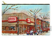 Dunkin Donuts Rue Wellington Verdun Montreal  Paintings Hockey Art Winter Street Scenes Cspandau  Carry-all Pouch