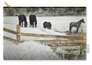 Dutch Friesian Horses Behind A Wooden Fence In A Pasture Carry-all Pouch