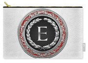 E - Silver Vintage Monogram On White Leather Carry-all Pouch