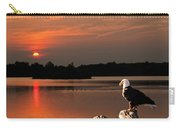 Eagle On Stump Overlooking Water At Sundown Carry-all Pouch